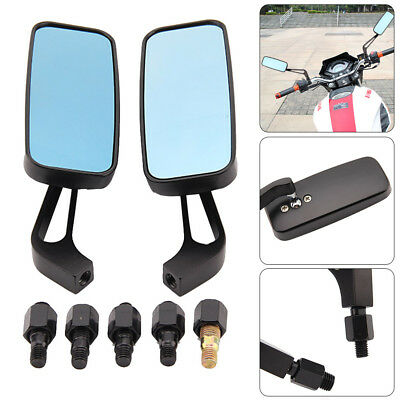 8MM 10MM BLACK MOTORCYCLE WING SIDE MIRRORS ANTI GLARE MOTORBIKE REARV