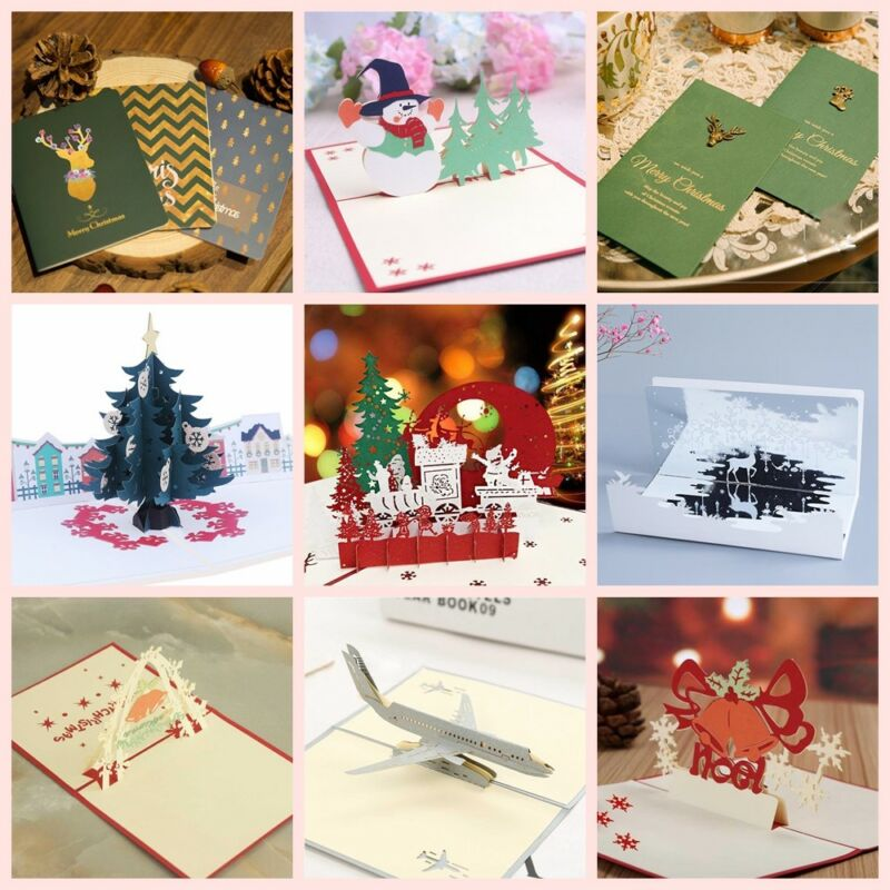 Christmas New Year Greeting Cards Up 3D Novelty Invitation Card ...