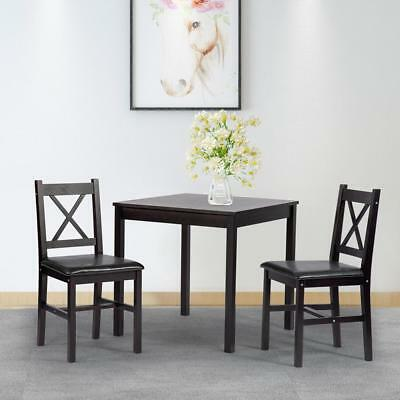 Dining Kitchen Table Dining Set 3 Piece Wood in Door Farmhou