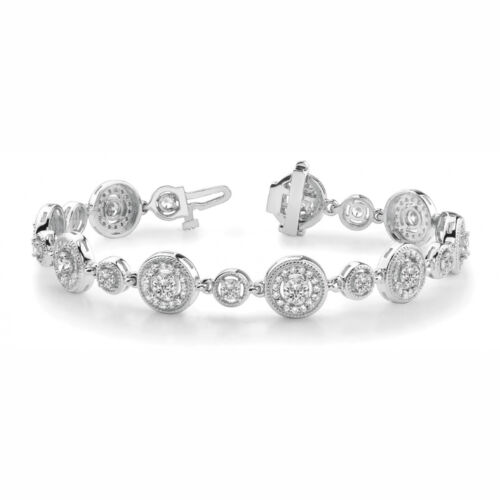 2.98 Carat Si1white Round Diamond Bracelet Vintage Style14k Wg For Women