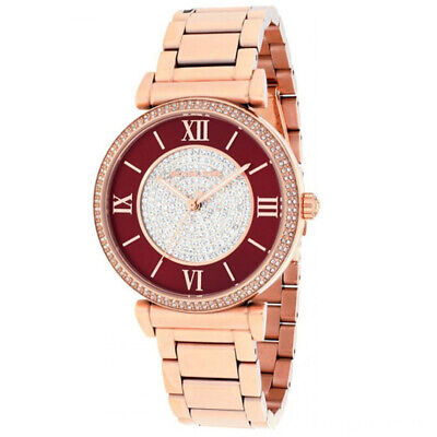 New Michael Kors MK3377 Women's Caitlin Red/Crystal Dial Rose Gold Tone Watch