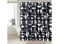 Shower Curtain Polyester Bathroom Waterproof 180x180cm with 12 Hooks
