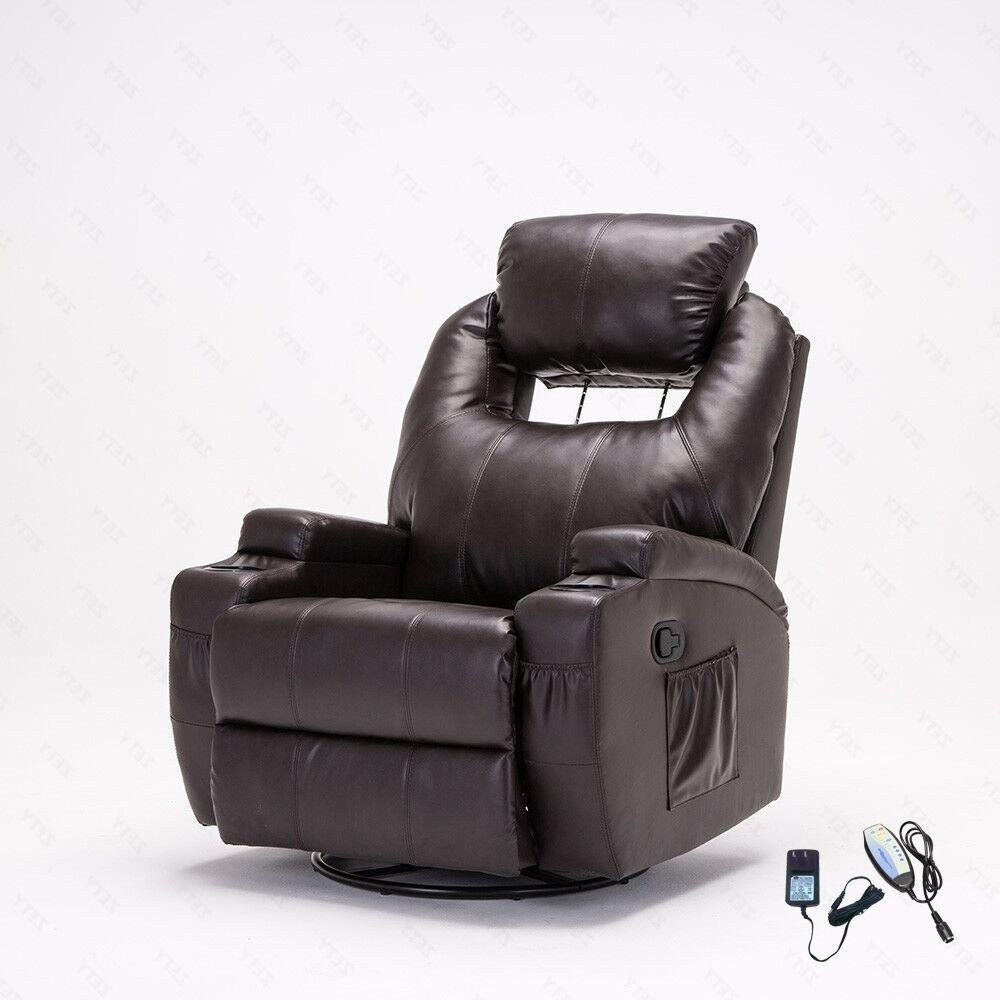 Brown Heated Massage Recliner Sofa Chair Ergonomic Lounge
