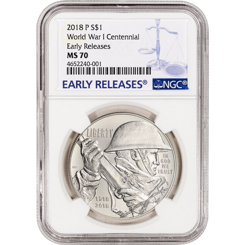 2018-P US World War I Commemorative BU Silver Dollar - NGC MS70 - Early Releases