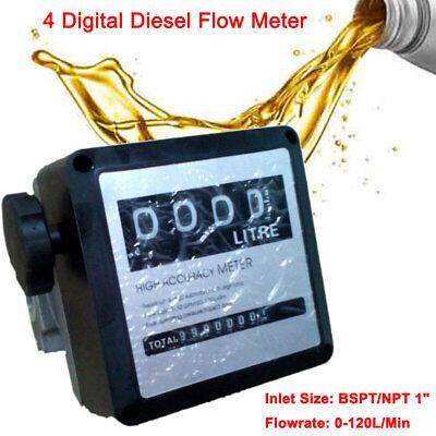Fm-120 4 Digital Diesel Gasoline Fuel Petrol Oil Flow Meter Counter Gauge Bspt1