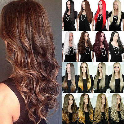 100  Top Synthetic Wigs 3 4 Full Head No Bangs Hair Fall Womens Cosplay Wig 6C