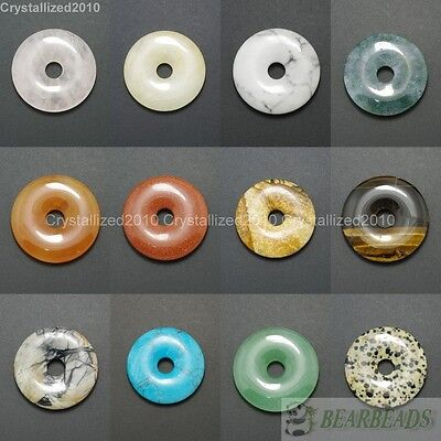 40 Mm Stone Necklace (Natural Gemstone Round Donut Ring Pendant 40mm Beads Necklace Earring)