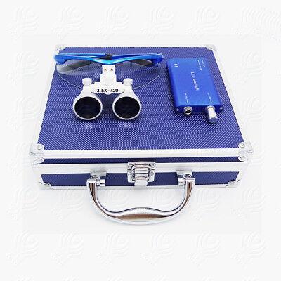 Dental Surgical Binocular Loupes 3.5x-420 Magnifier Kit Led Head Light Blue Vep