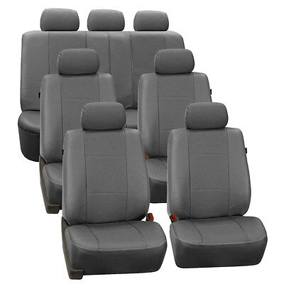 Gray Deluxe Perforated Leatherette 7Seater 3 Row Set Split Bench Place Covers
