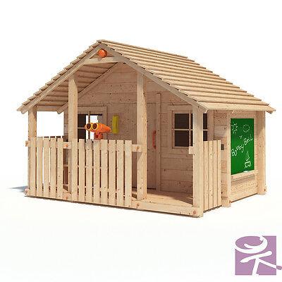 BOBBY BELL XXL Spielhaus Kinderspielhaus Gartenhaus Holz Haus Spiel Terrasse