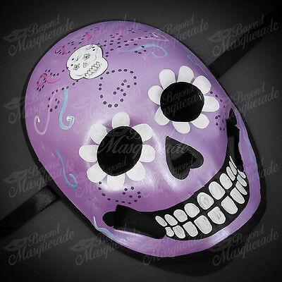 Womens Day of the Dead Skeleton Skull Halloween Masquerade Mask Purple Skull