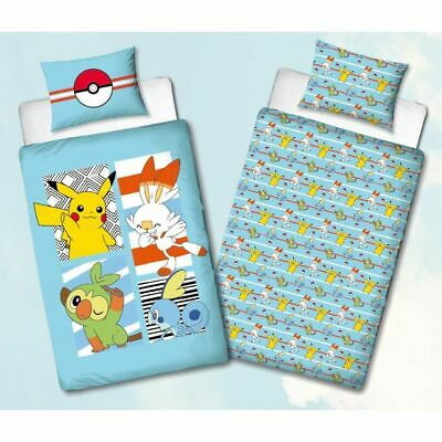 Official Pokemon Single Duvet Cover Set Reversible Polycotton Pikachu Jump