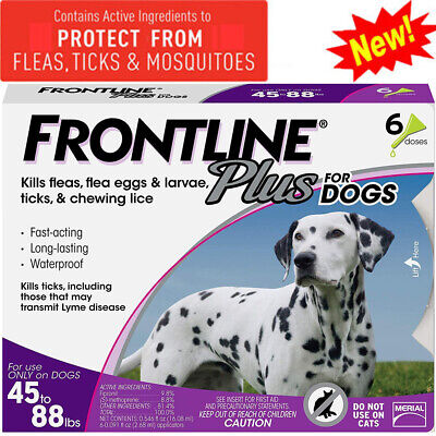 Frontline Plus for Dogs 45-88 lbs Flea and Tick Treatment Tick Control-6 Doses
