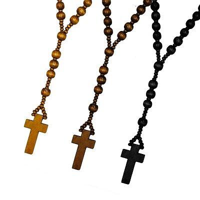 Holz Rosenkranz in drei versch. Farben braun schwarz Holzperlen Kette Kreuz