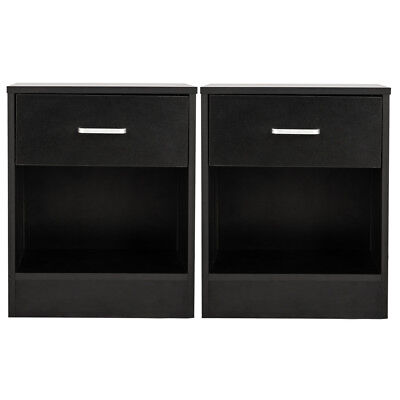 - Set of 2 Night Stand 2 Layer Bedside End Table Organizer Bedroom Nightstand