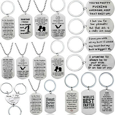 SON Daughter Military Style Army Dog Tag Stainless Steel Pendant Men