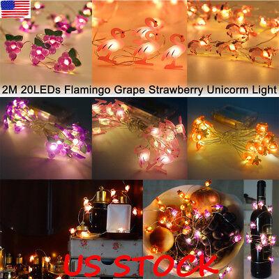 20 LED Cute Fairy Lights String Unicorn Flamingo Fruit Kids Light Gift Battery](Cute String Lights)