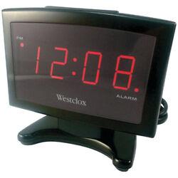Westclox 70014A Plasma 0.9 Red LED Display Alarm Clock, Black Case