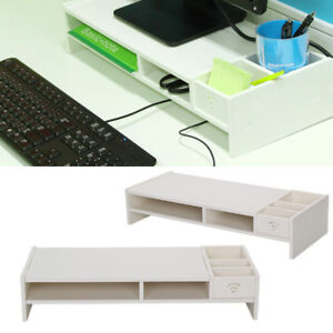 Desktop Monitor Stand Computer Screen Riser Home Office TV PC Shelf Plinth White