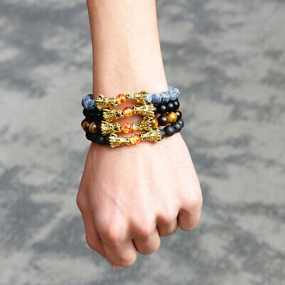 8mm Natural Stone Bead Strand Yoga Bracelets Men Gold Dragon Head Jewellry New