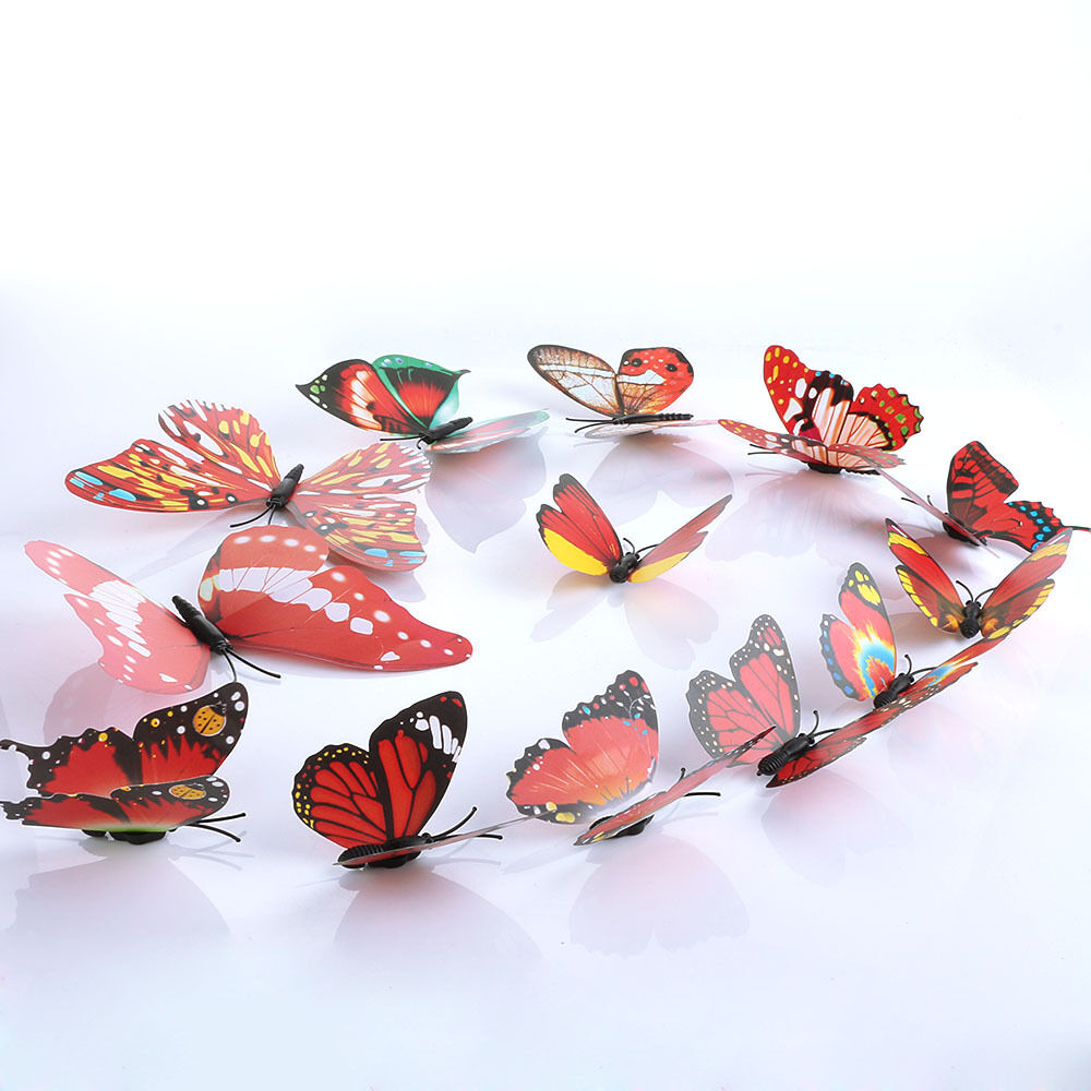 Red Diy Butterfly Wall Sticker Butterfly Home Decor Room