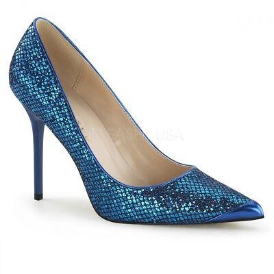 Pumps blau Glitzer Glitter Gr.39 US 9 bequem Absatzschuhe extravagant Party Glitter Party Schuhe