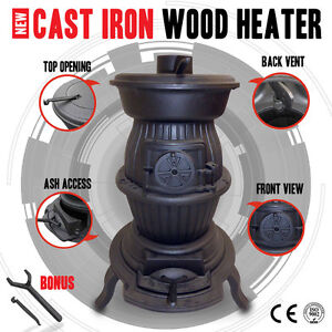 Cast Iron Wood Heater Pot Belly Heater Slow Combustion 6KW Heat Up To 12 Square