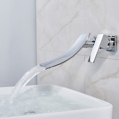 Wall Mount Bathroom Sink Faucet Waterfall Spout Tub Faucet Chrome Mixer Tap Chrome Wall Mounted Bathroom Faucet