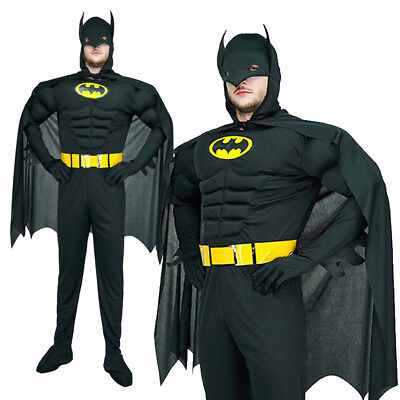 Muscle Batman Superhero Adults Stag Halloween Outfit Mens Fancy Dress - Batman Mens Costume