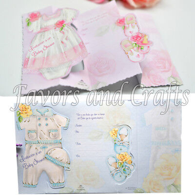 20 Invitaciones Para Baby Shower + Sobres Invitations Envelopes Boy Girl  (Baby Shower Invites Boy)