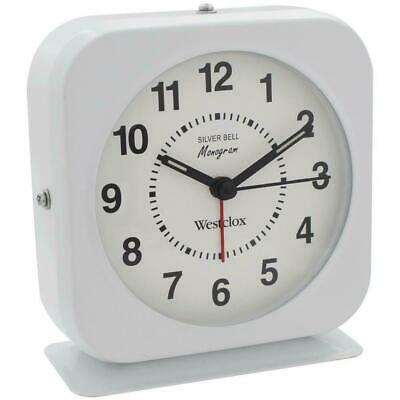 Westclox White Battery Metal Case Quartz Alarm Clock Loud Bell luminous Markers Metal Alarm Clock Bells