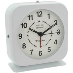 Westclox White Battery Metal Case Quartz Alarm Clock Loud Bell luminous Markers