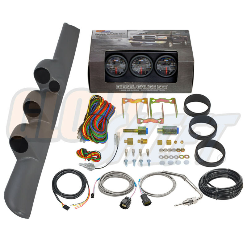 GlowShift B7 Boost EGT Trans Temp Gauges + Gray Pod for 98-02 Dodge Ram Cummins