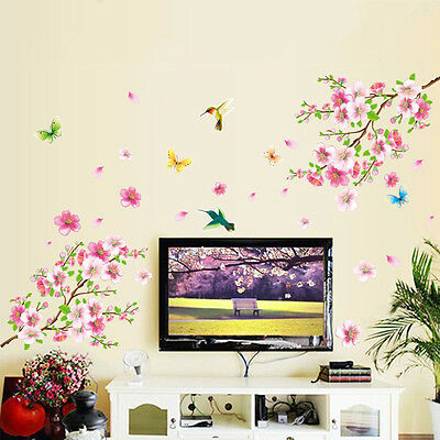 Cherry Blossom Bird Butterfly Removable Vinyl Wall Sticker Decal Art Home Decor