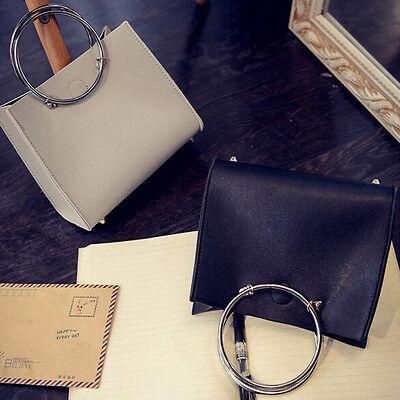 Fashion Women Leather Hoop Handbag Shoulder Messenger Bag+Clutch Bag 1Set Gift