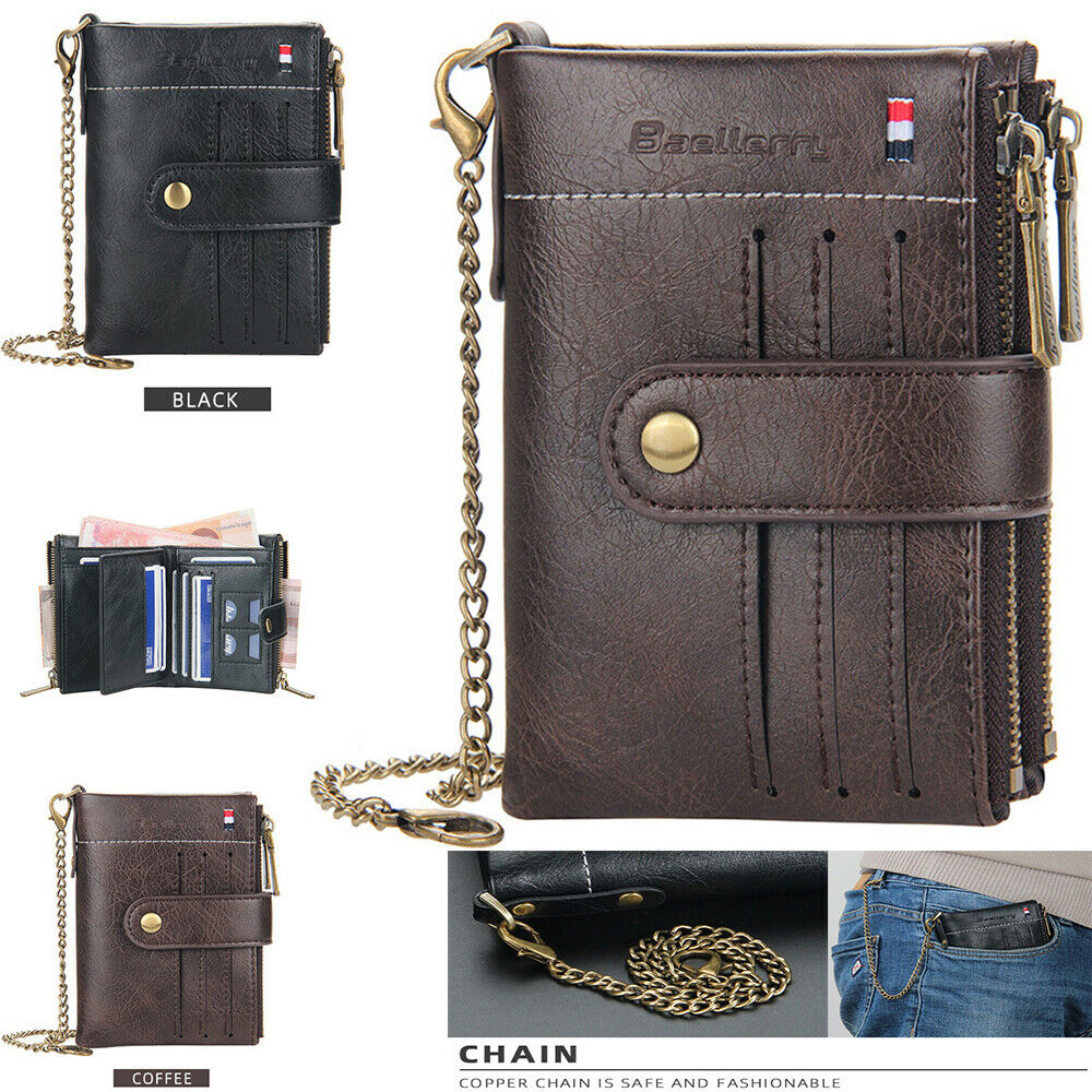 Men Men's Leather Wallet with Chain ID Sim Credit Card Holder Double Zipper Coin