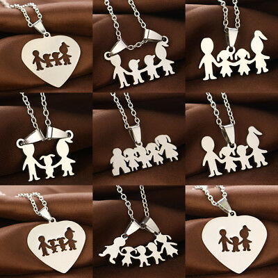 Stainless Steel Family Children Parents Pendant Necklace Mom Dad Son Daughter - Kids Necklaces