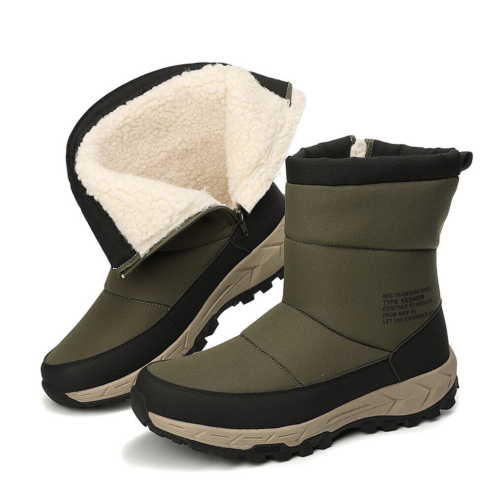 Details about Men's Winter Snow Boots Anti Slip Warm Fur Lined High Top Walk Hiking Shoes HOT