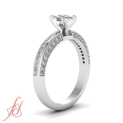 1.25 Ct Cushion Cut Diamond Inline Series Engagement Ring Channel Set 14K GIA 2
