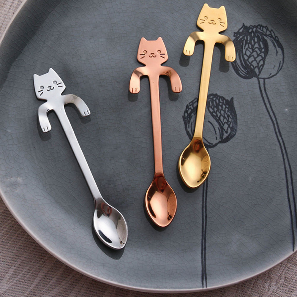 Cute Stainless Steel Cat Coffee Drink Spoon Tableware Kitchen Tool Hanging Hook