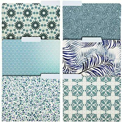 Decorative File Folders With Floral Design Blue Tones 6 Designs 24 Pack
