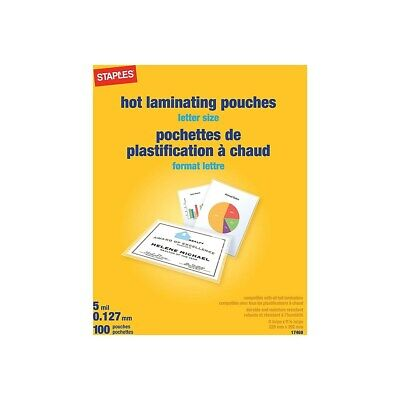 Staples 5 Mil Thermal Laminating Pouches Letter Size 100 Pack 489526