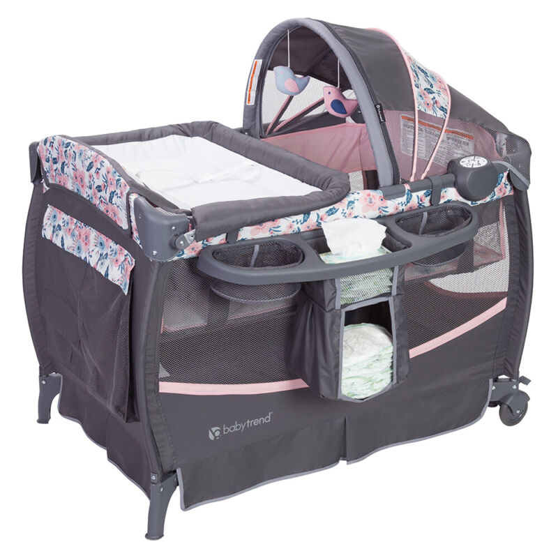 Baby Trend Deluxe II Nursery Center Playard Play Crib with Bassinet, Bluebell