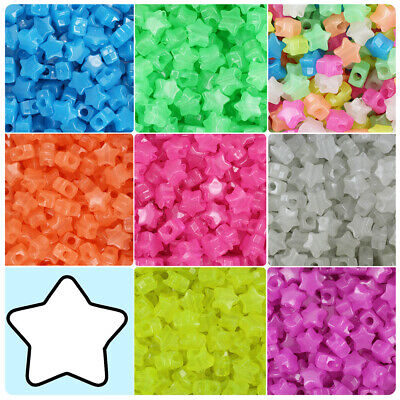 BeadTin Semi Glow 13mm Star Pony Beads (250pcs) - Color choice](Plastic Star Beads)