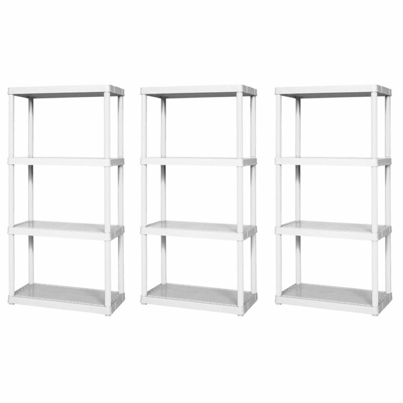Gracious Living Easily Assembled Light Duty Solid Shelving Unit, White (3 Pack)