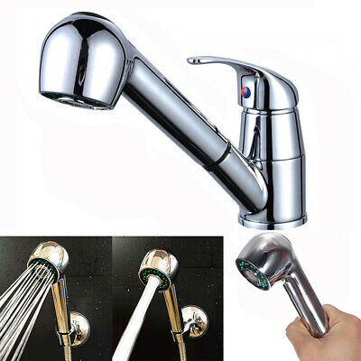 Kitchen Sink Chrome Single Handle Mixer Tap Swivel Pull Out Spray Faucet Spout Chrome Kitchen Mixer Tap