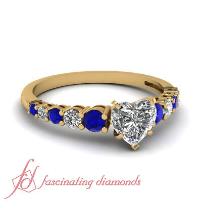 1 Ct Sapphire And Diamond Heart Shaped Engagement Ring With Round Side