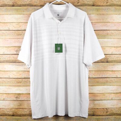 Hickey Freeman Mens XL White Gray Golf Polo Shirt Stretch Short Sleeve