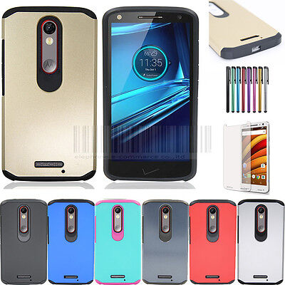 Turbo Rubber - Hybrid Shockproof Rubber Hard Case Cover For Motorola Moto X Force Droid Turbo 2