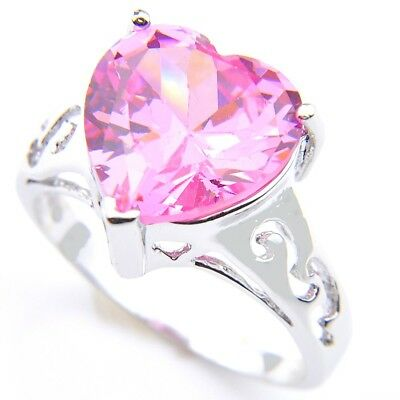 Cheap Engagement Natural Pink Fire Topaz Gemstone Silver Heart Ring Size 7 8 9 (Cheap Pink)